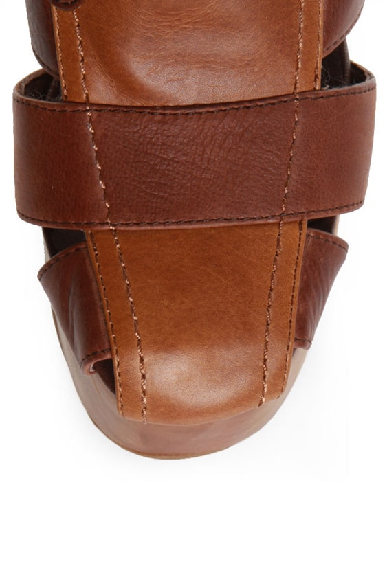 Jeffrey Campbell Ford Brown Combo Wooden Platform Booties