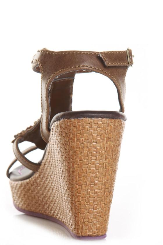 Yves Brown Multi Beaded Basket Weave Wedges