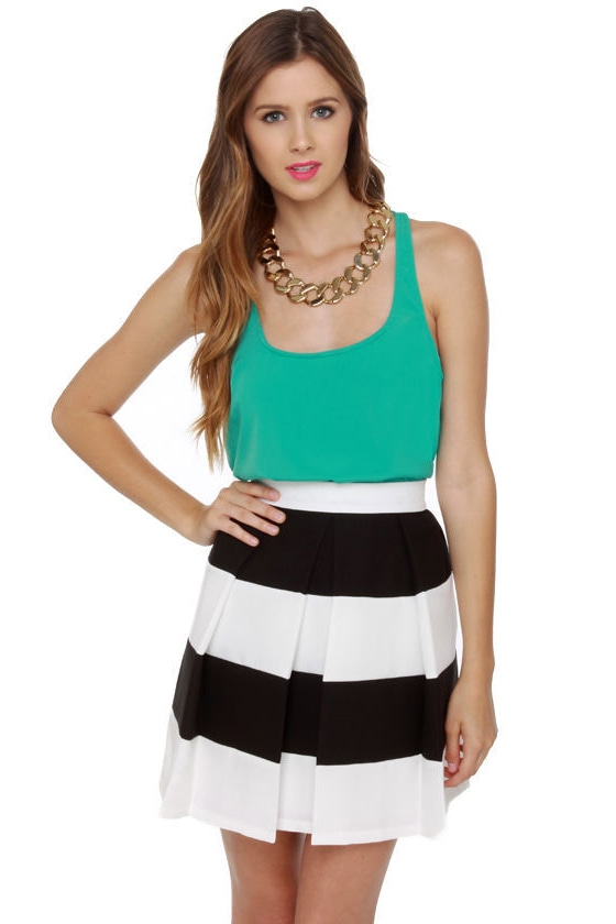 Cute Black and White Skirt - Pleated Skirt - $58.00