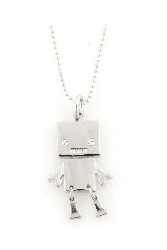 Mini Robot Silver Necklace