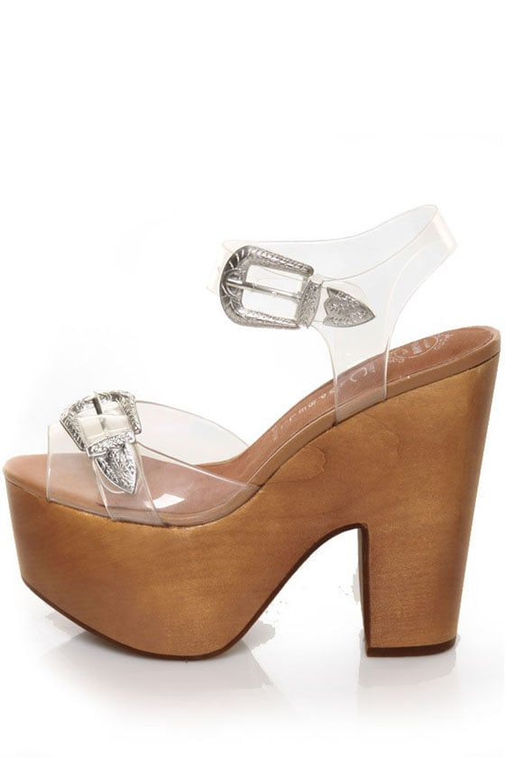 Jeffrey Campbell Suspect Silver Clear Jelly Buckled Platforms