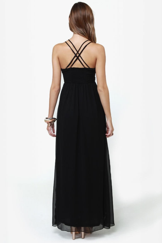 Tug at Your Heart Strings Black Maxi Dress at Lulus.com!