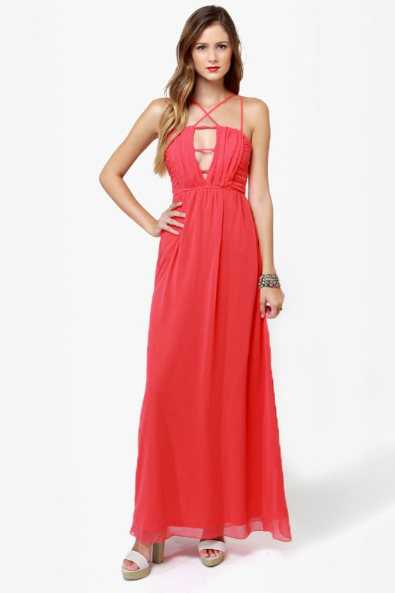Tug at Your Heart Strings Coral Maxi Dress at Lulus.com!