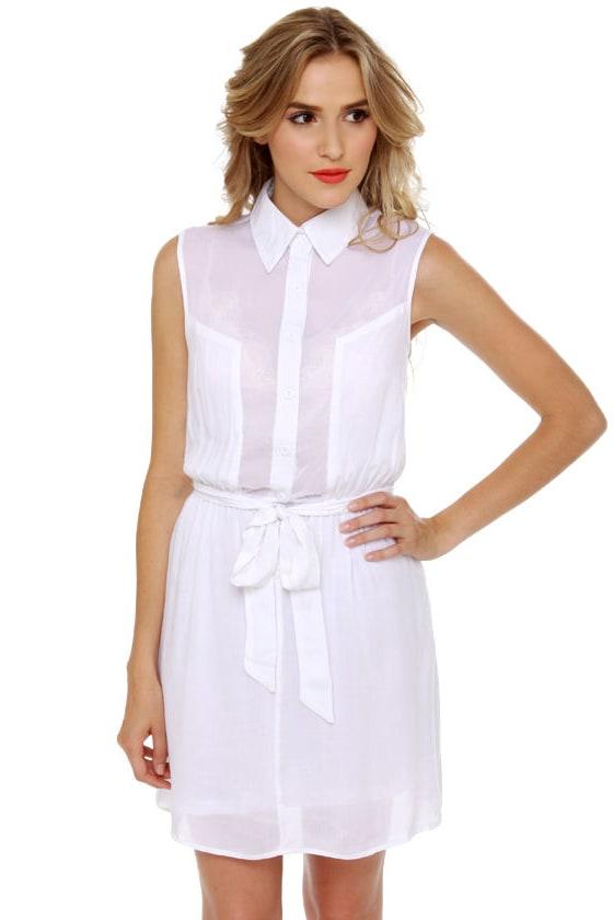 badd51ad7a88b0 Cute White Dress - Shirt Dress - Sleeveless Dress -  33.00