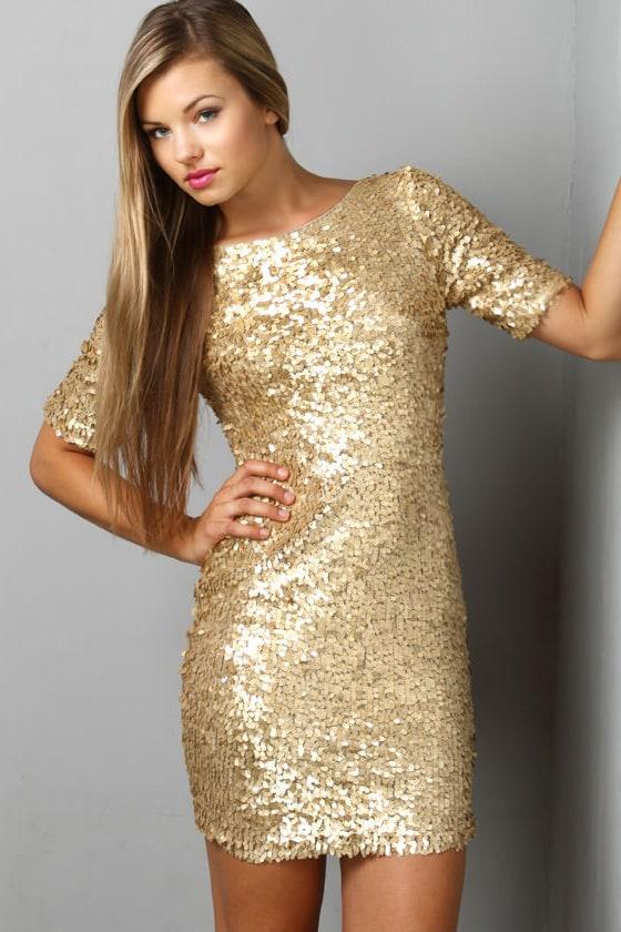 Gold Dress - Party Dress - Holiday Dress - Sequin Dress - $79.00