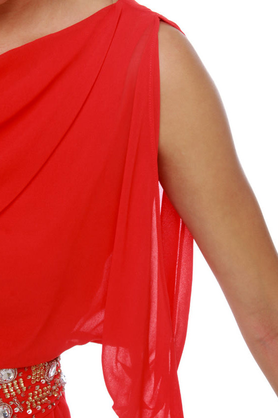 High Roller Beaded Red Dress