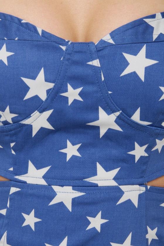 Star-Spangled Beauty Print Blue Dress