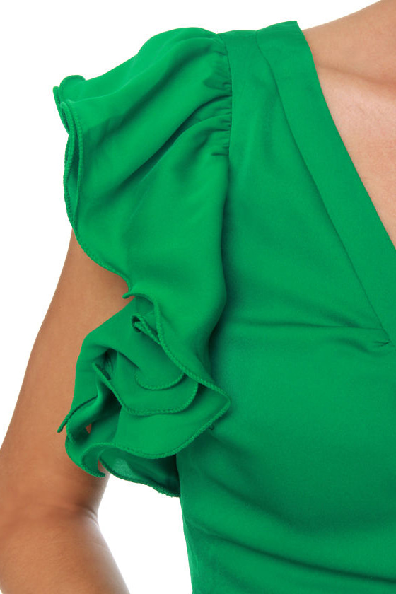Touch of Sleeve-il Green Dress at Lulus.com!