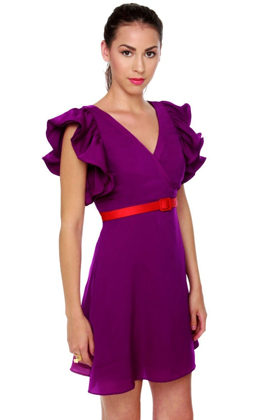 Touch of Sleeve-il Purple Dress