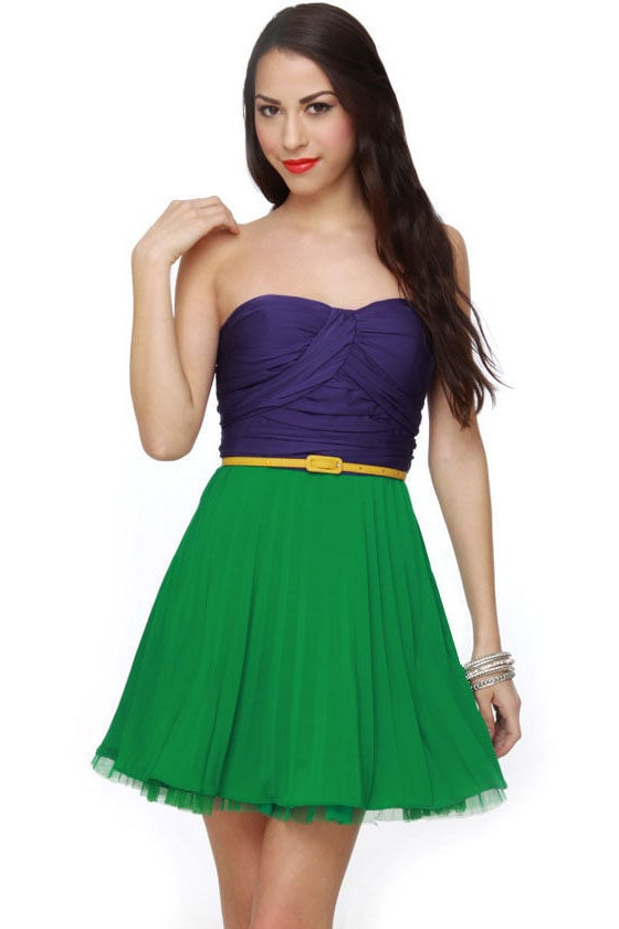 Heavens and Earth Pleated Strapless Dress