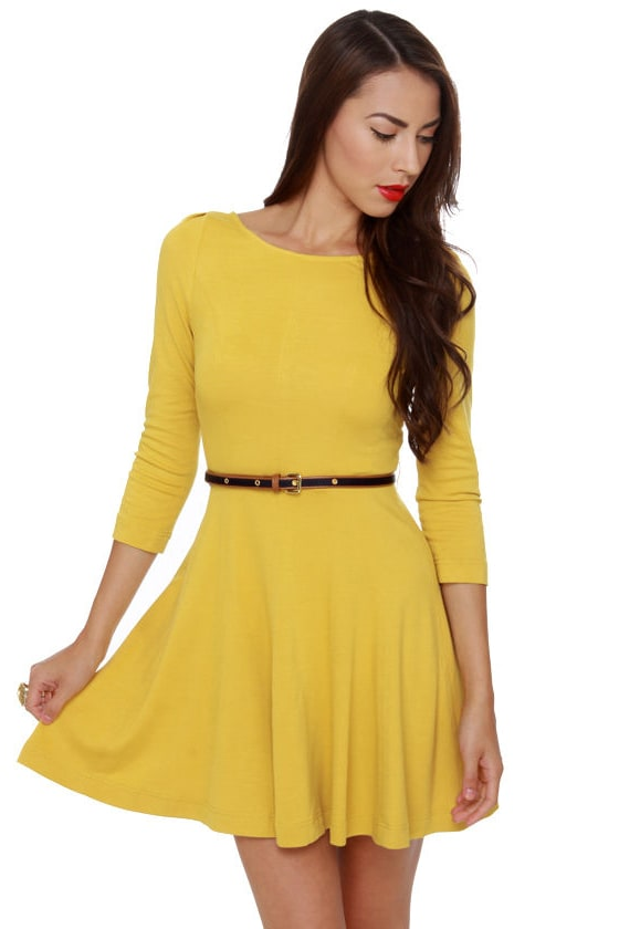 Pretty Yellow Dress - 3/4 Sleeve Dress - Flared Dress - $70.00