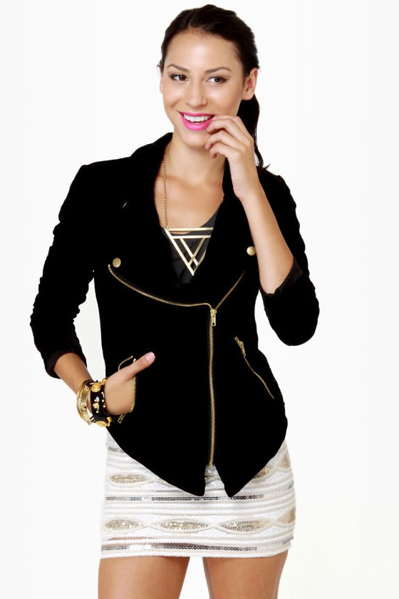 Cute Black Jacket - Velvet Jacket - Zipper Jacket - $84.00