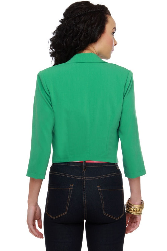 In Charge Green Cropped Jacket at Lulus.com!