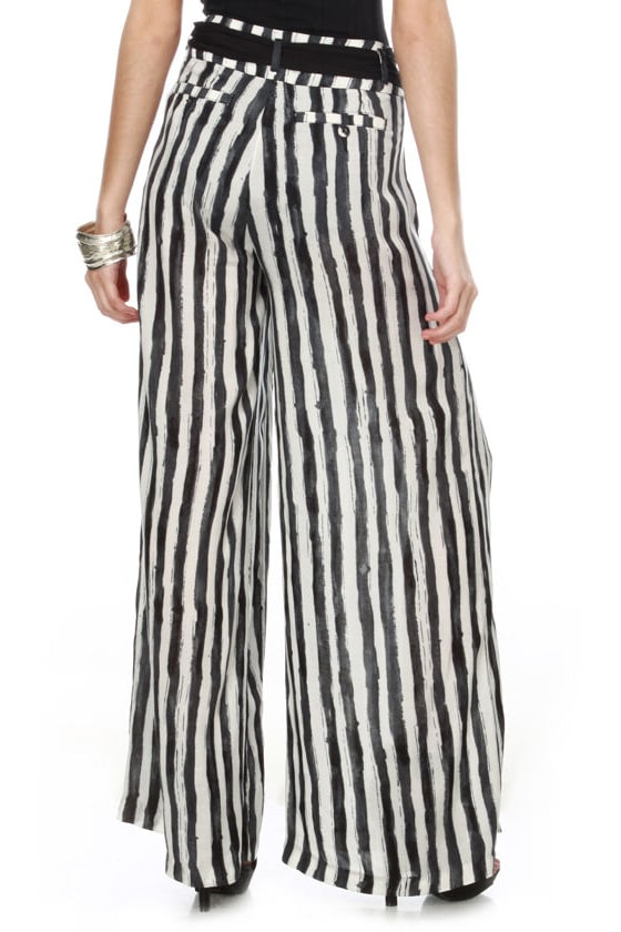 Manhattan Chic Striped Wide Leg Pants