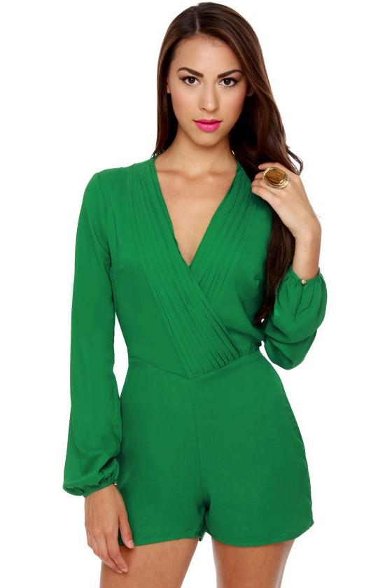 2805bc53aab6 Cute Green Romper - Long Sleeve Romper -  58.00