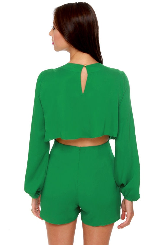 Have a Look-See Green Romper