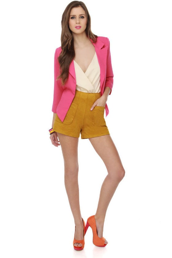 Easily Per-suede-ed Golden Yellow Shorts