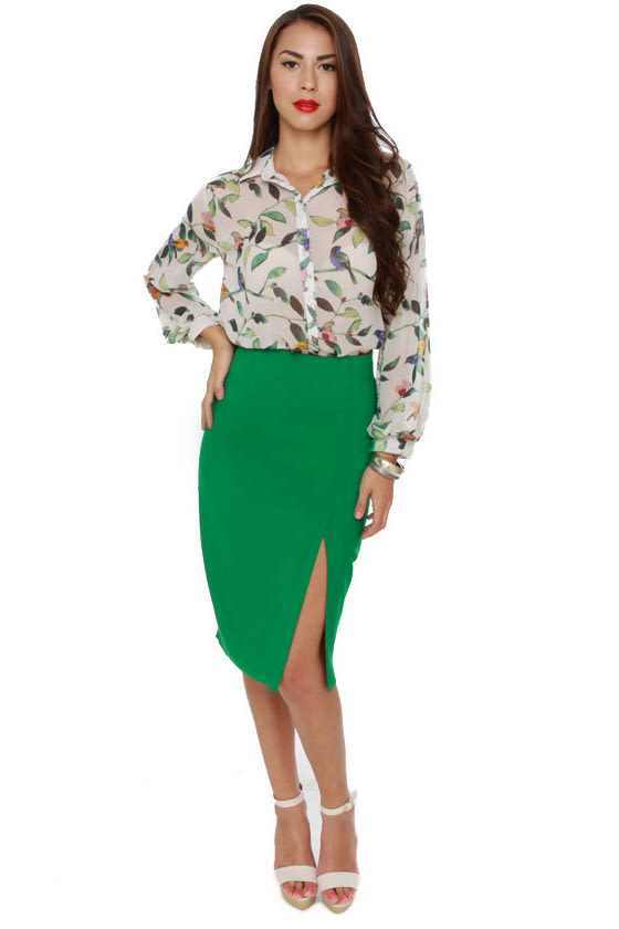 Fashion Internship Green Pencil Skirt