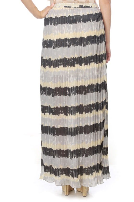 Circlets and Stones Striped Maxi Skirt