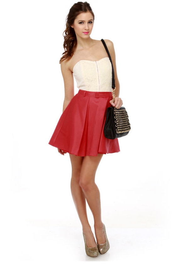 Ardent Affair Pleated Red Skirt