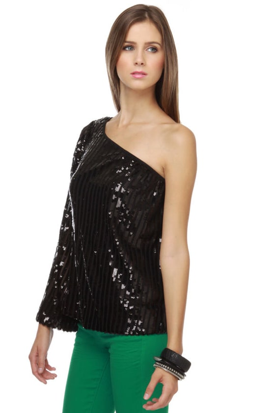 Detonate One Shoulder Black Sequin Top