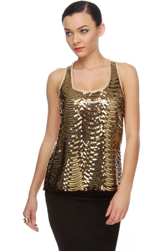 Goldplay Gold Sequin Top