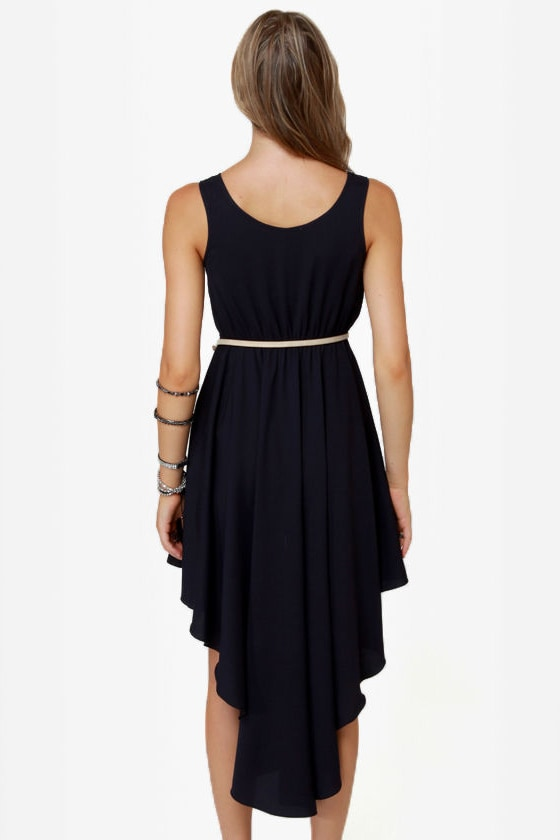 Friends in High-Low Places Navy Blue Dress at Lulus.com!