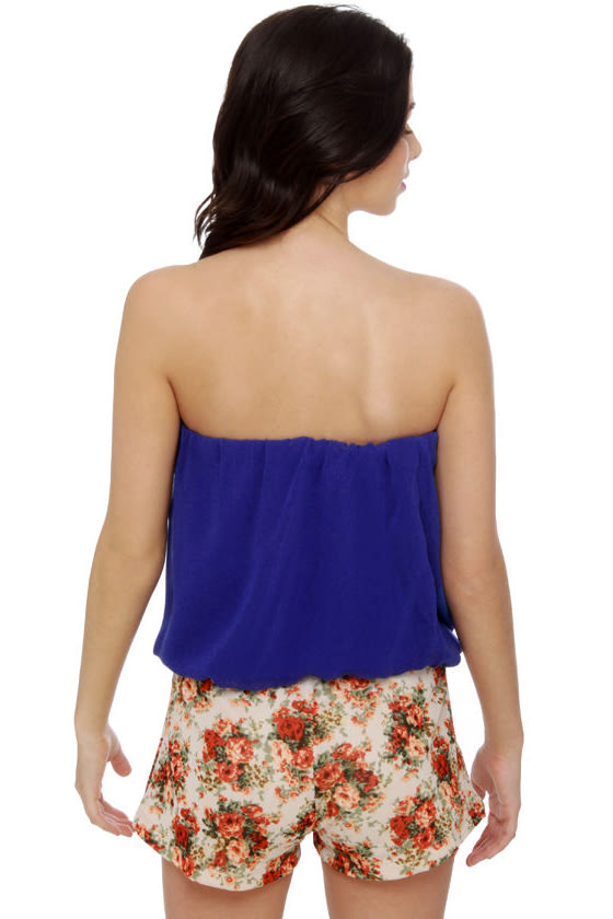 Tube-ilee Strapless Blue Top
