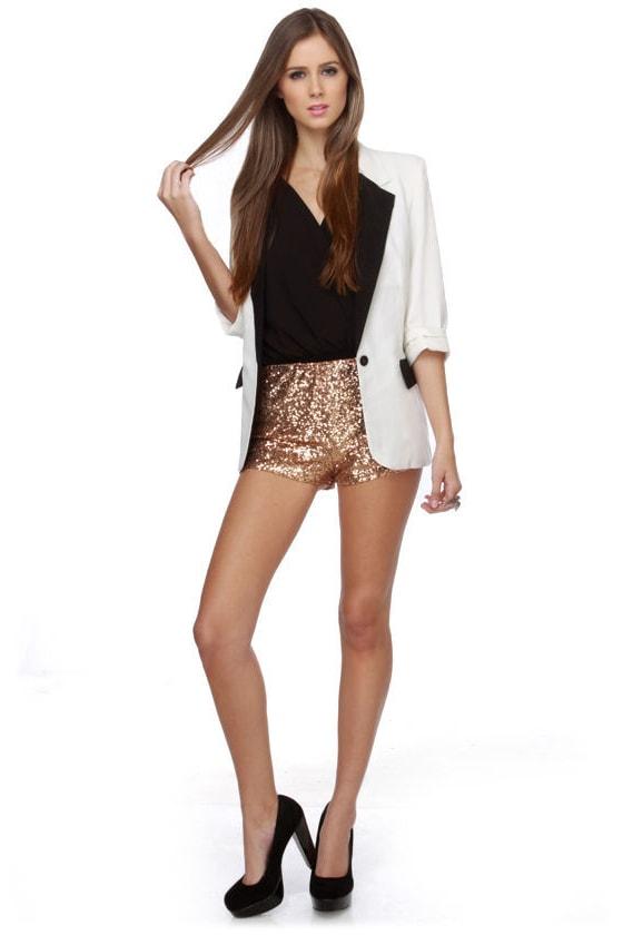 Dance-a-thon Copper Sequin Shorts