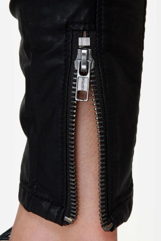 Blank NYC Moto Ankle Skinny Black Vegan Leather Pants