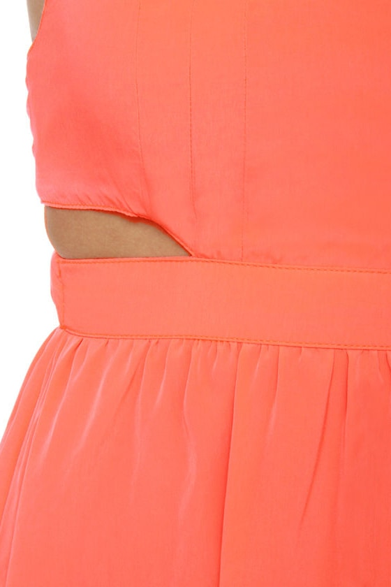 BB Dakota Lunette Neon Coral Halter Dress