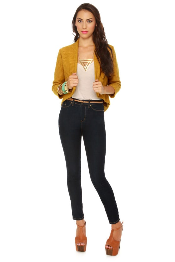 BB Dakota Suki Topaz Yellow Cropped Jacket