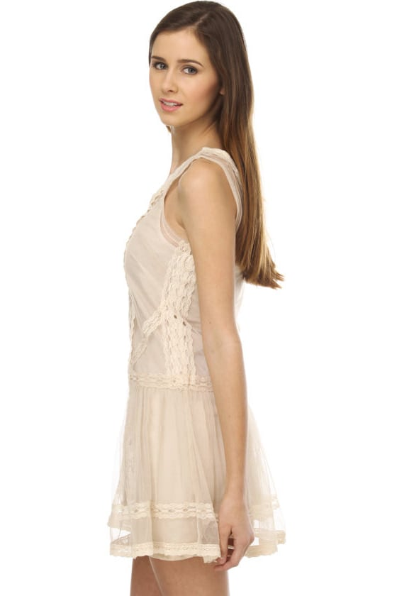 BB Dakota by Jack Sabrah Beige Lace Dress