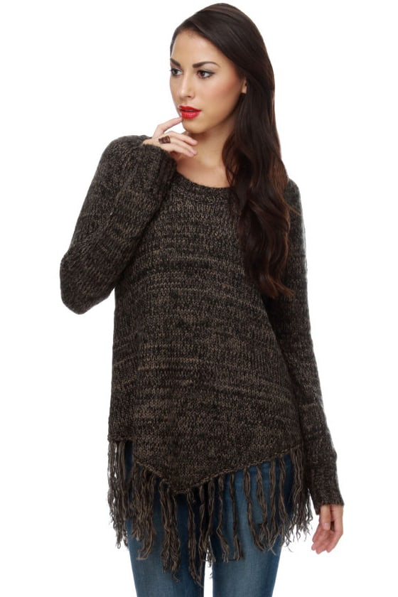 BB Dakota by Jack Jenina Brown Fringe Sweater