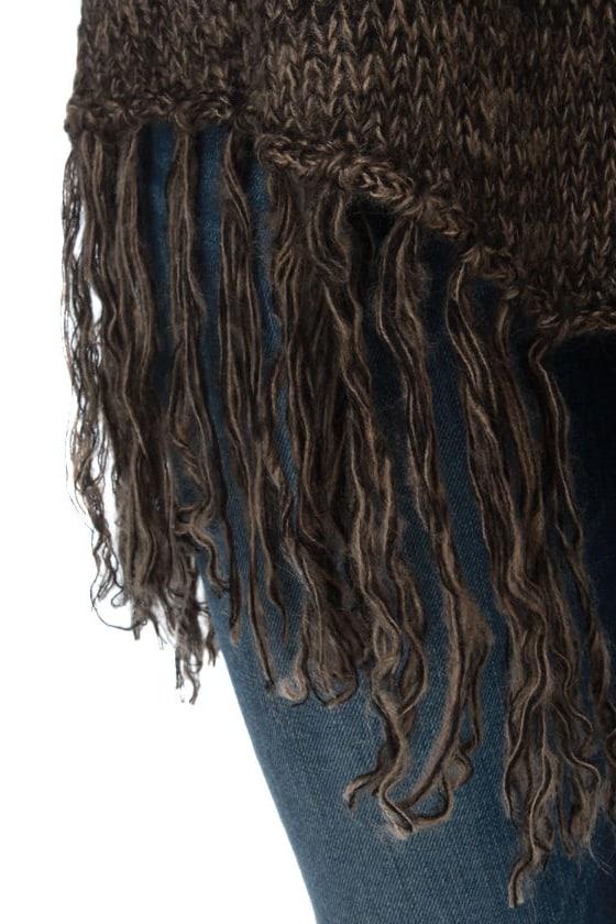 BB Dakota by Jack Jenina Brown Fringe Sweater