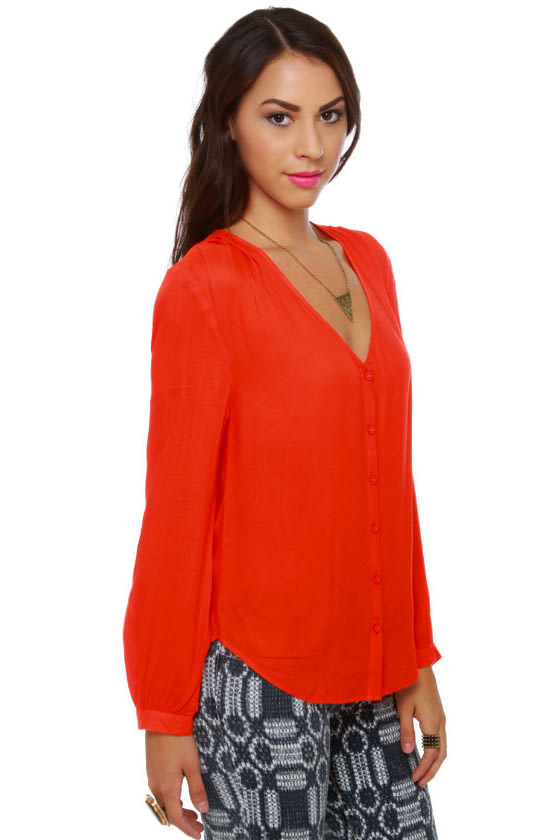 BB Dakota by Jack Lil Orange Button-Up Top