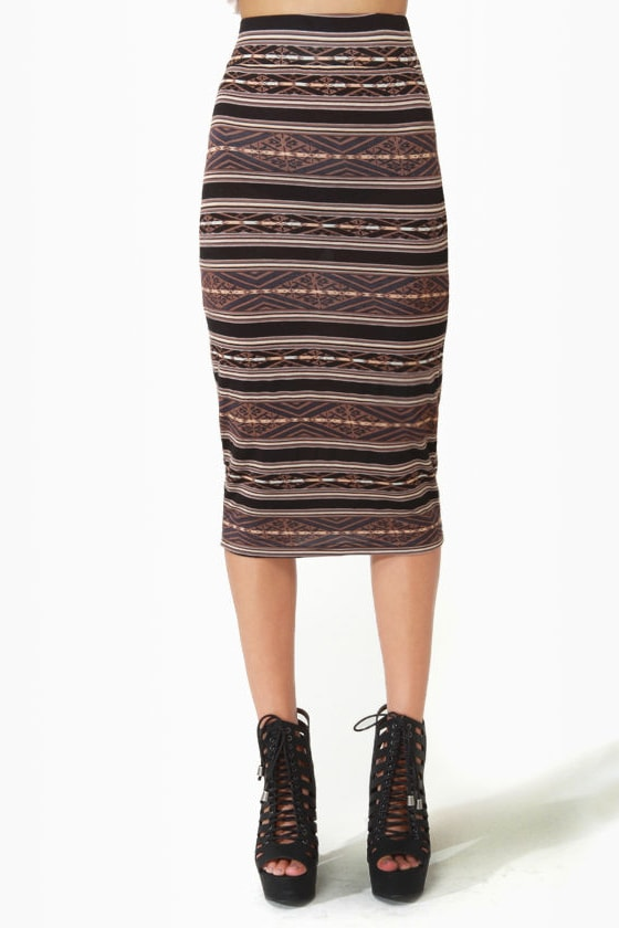 BB Dakota by Jack Joel Print Pencil Skirt