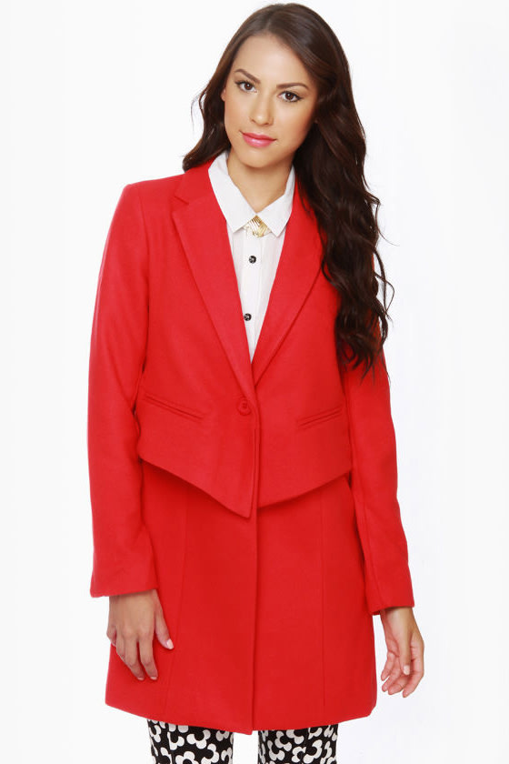 BB Dakota Rynn Coral Red Coat at Lulus.com!