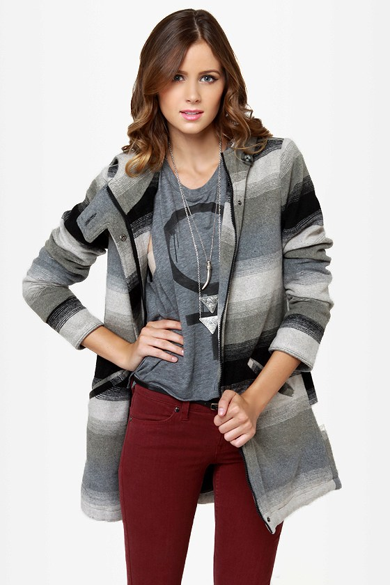 BB Dakota by Jack Jeremie Striped Grey Coat