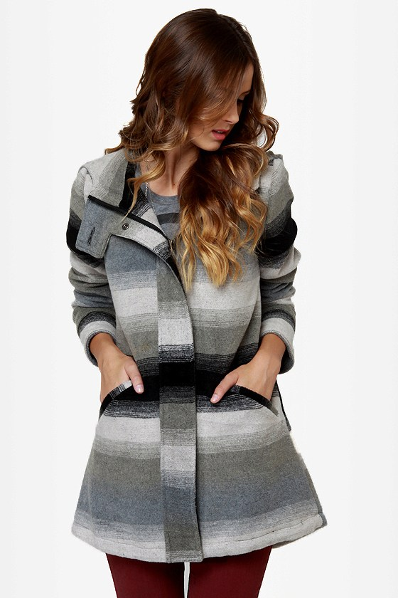 BB Dakota by Jack Jeremie Striped Grey Coat at Lulus.com!