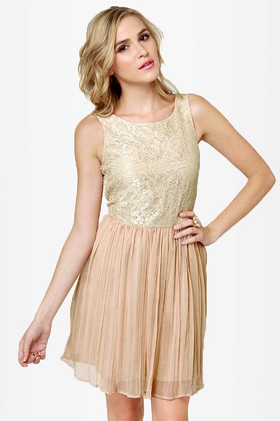 BB Dakota by Jack Javier Dress - Beige Dress - Lace Dress - $62.00