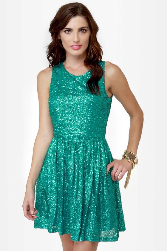 Cute Teal Dress - Sequin Dress - Sleeveless Dress - $58.00
