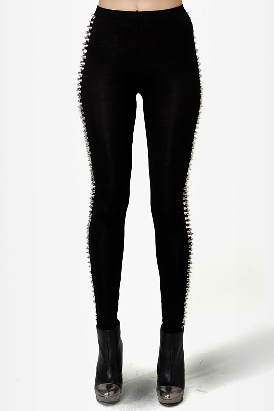 There Will Be Stud Black Studded Leggings at Lulus.com!