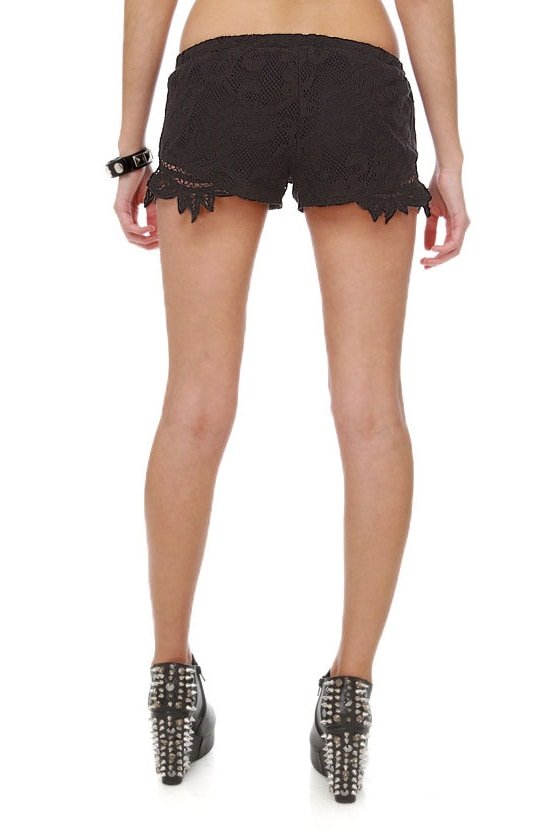 Billabong Oracle Fox Gypsetty Pull-On Black Lace Shorts