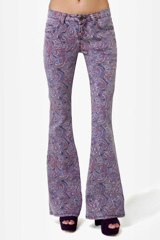 Billabong Jagger Purple Paisley Print Flare Jeans