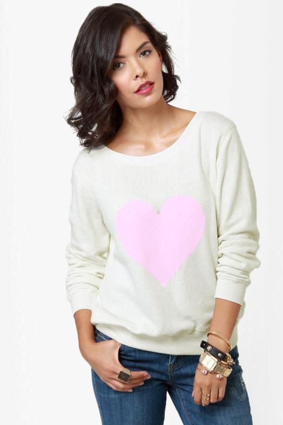 Billabong Thea Heart Print Ivory Sweater Top