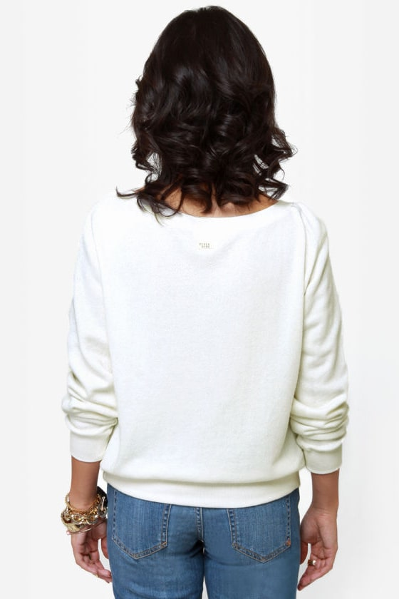 Billabong Thea Heart Print Ivory Sweater Top at Lulus.com!