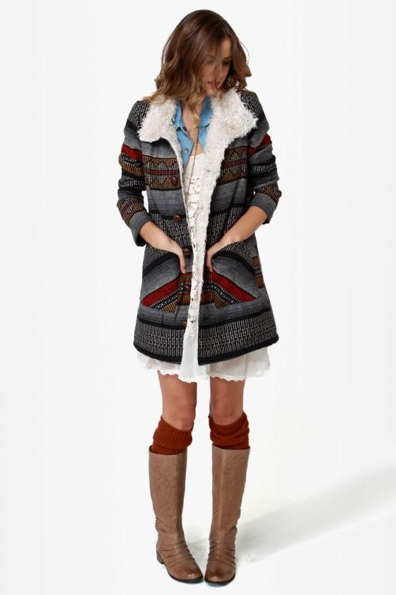 Billabong Zippora Black Tribal Woven Jacket