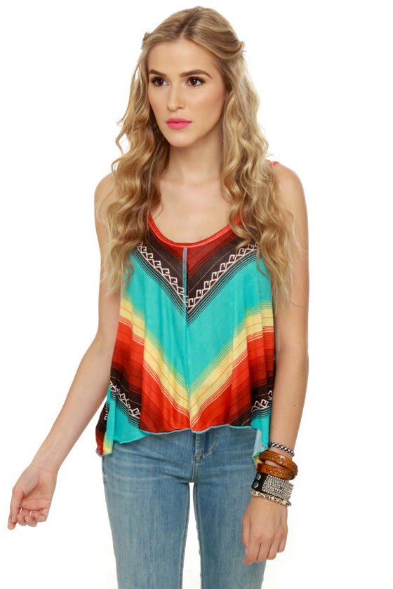 Billabong Silly Me Multi Striped Tank Top at Lulus.com!