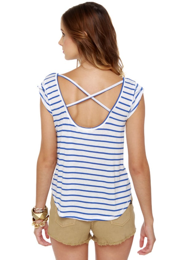 Billabong Dreaming Big Blue and White Striped Top